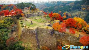 紅葉に包まれた 天空の城 岡城 -大分県-  20161117 vol.12 Aerial in drone the Oka castle/Okajou 4K Photo
