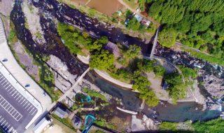 九州きれいな水の河川プール 涼しい川遊び 中島公園河川プール 夏休みにおすすめ ドローン映像 4K